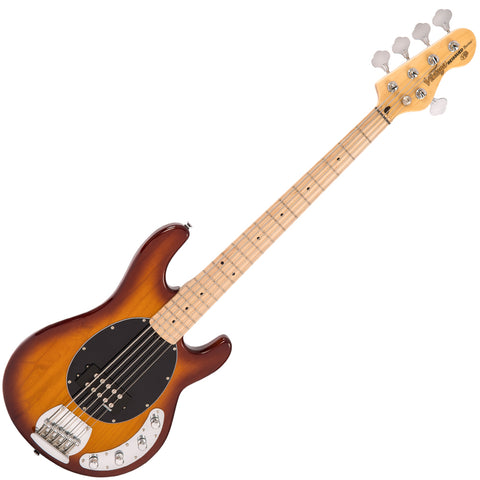 Vintage V96 ReIssued 5-String Active Bass ~ Flamed Tobacco Sunburst