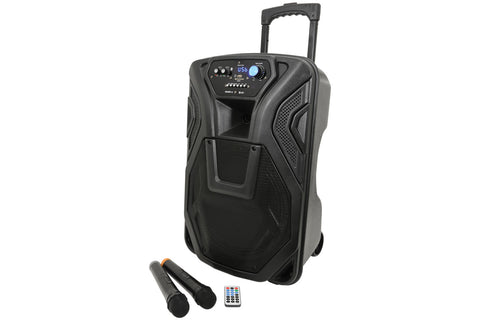 QTX Busker 12 portable PA with media player, wireless mics and Bluetooth