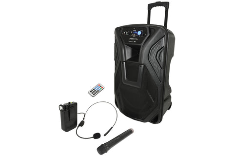 QTX Busker 15u - 15 inch Bluetooth Portable PA system - Limited Edition with Handheld and Headset UHF Wireless Mics and FREE cover