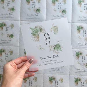 Boho vellum save the dates