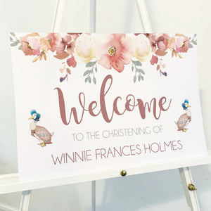 Dusty pink floral welcome sign