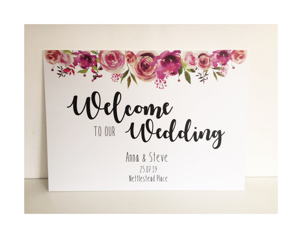 Pink roses welcome sign