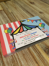 Load image into Gallery viewer, Circus birthday invitations
