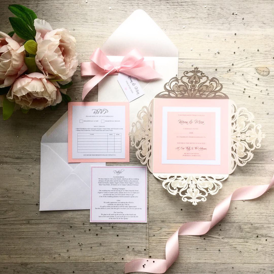 Pink lasercut invitation