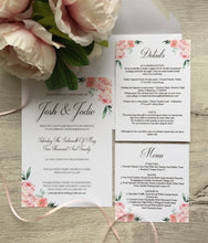 Load image into Gallery viewer, Pink floral corner invitations