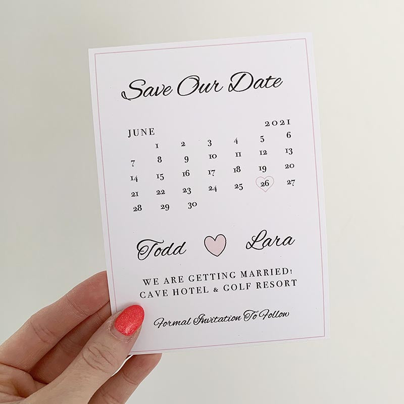 Calendar heart save the date