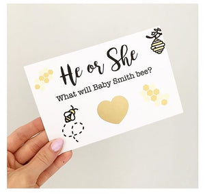 Scratch & see gender reveal card