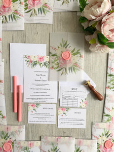 Pink and green vellum jacket invitation