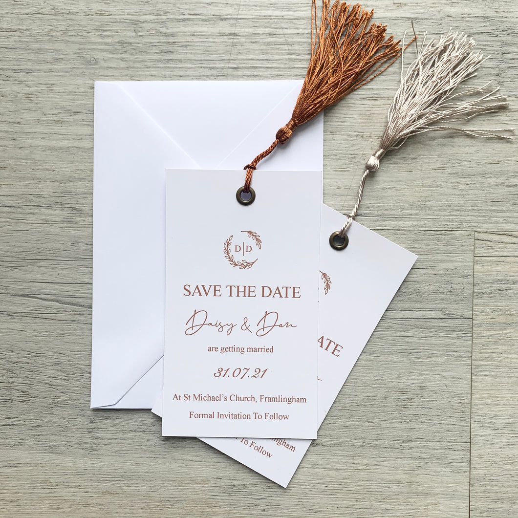 Tassel monogram save the date
