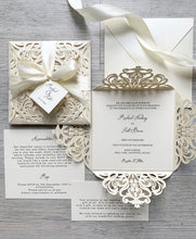 Load image into Gallery viewer, Cream & ivory laser cut invitations