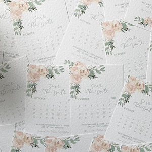 Pale pink floral save the dates