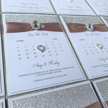 Load image into Gallery viewer, Silver & blush gem save the dates