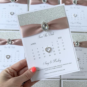 Silver & blush gem save the dates