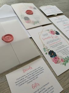 Geometric Gold and Pink Floral Invitations