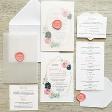 Load image into Gallery viewer, Geometric Gold and Pink Floral Invitations