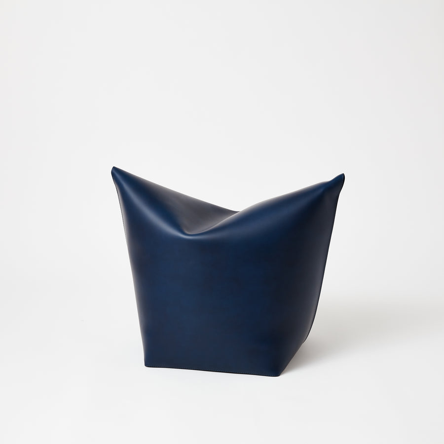 Leather Stool | Navy