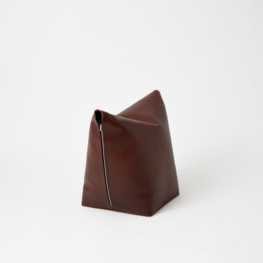 Leather Stool | Brown