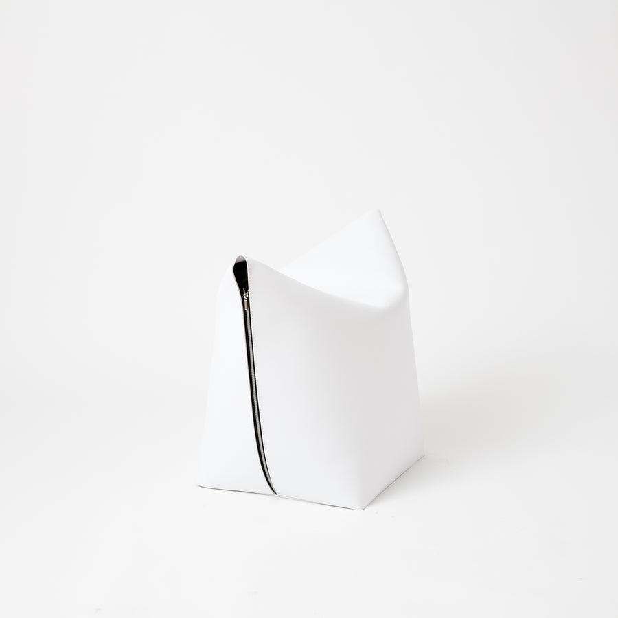 Leather Stool | White