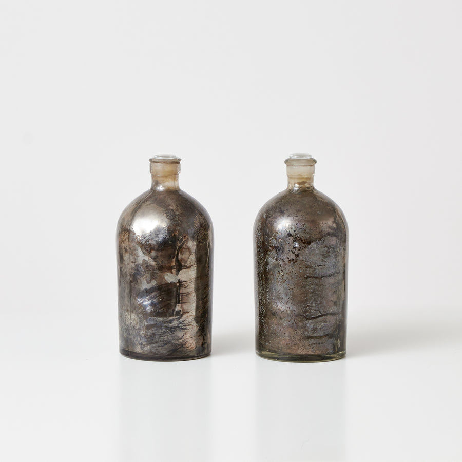 Antique Mercury Glass Bottles