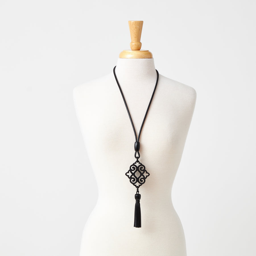 Aya Horn Necklace with Long Tassel