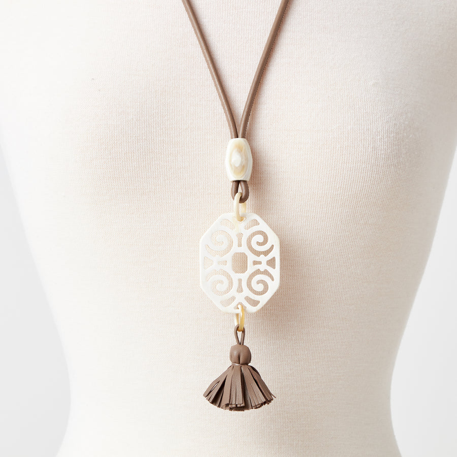 Deco Natural Horn Necklace with Tassel