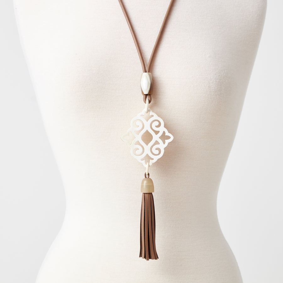 Aya Natural Horn Necklace with Tassel