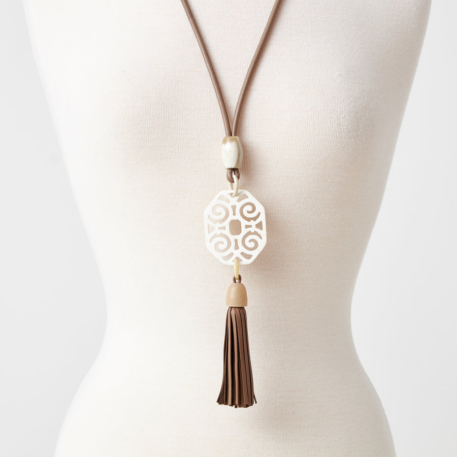 Deco Natural Horn Necklace with Long Tassel