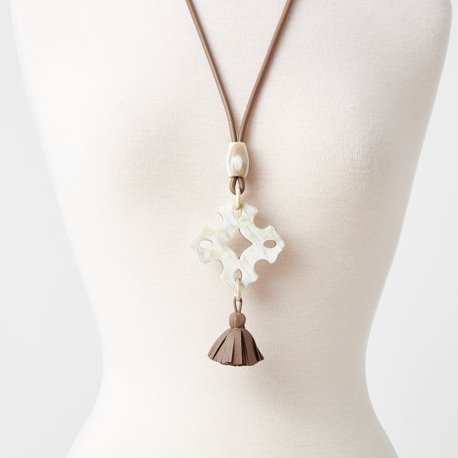 Ayalet Natural Horn Necklace with Long Tassel