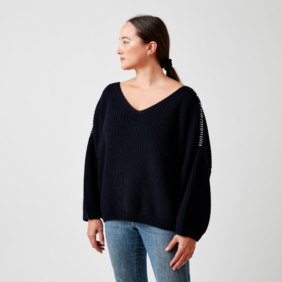 Karin Roche Navy Sweater with Contrast Stitching
