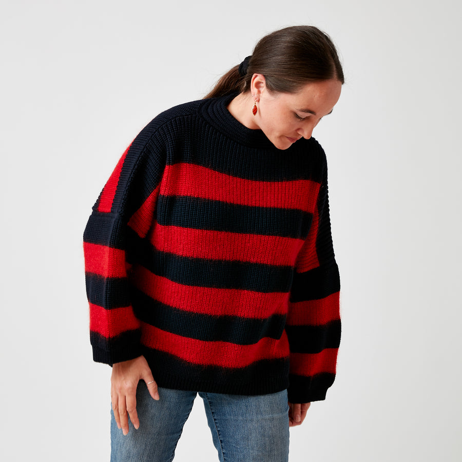 Karin Roche Red & Navy Striped Sweater