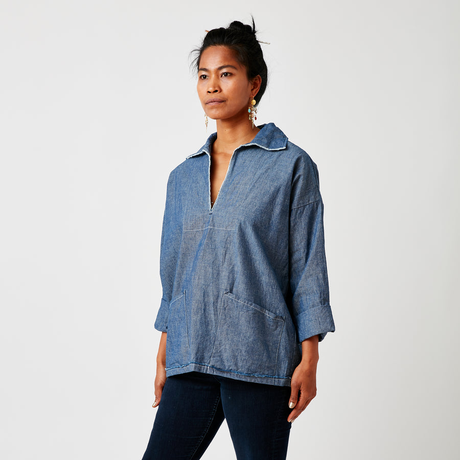 Uqnatu Chambray Popover Top