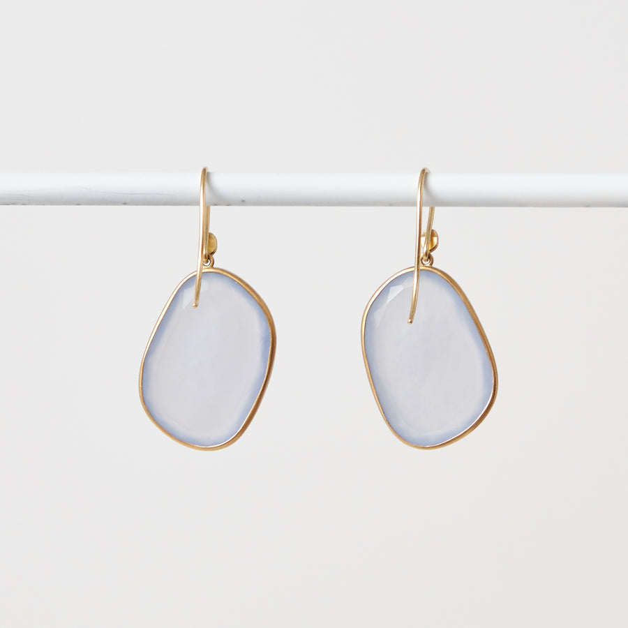 Faceted Lavender Chalcedony Earrings