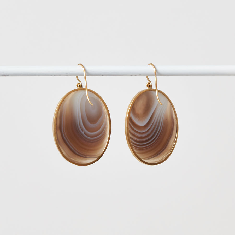 Banded Agate Oval Earrings