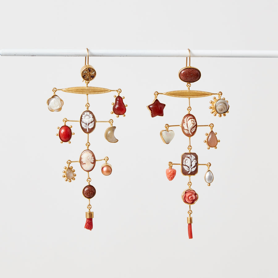 Large Coral and Cameo Balance Earrings