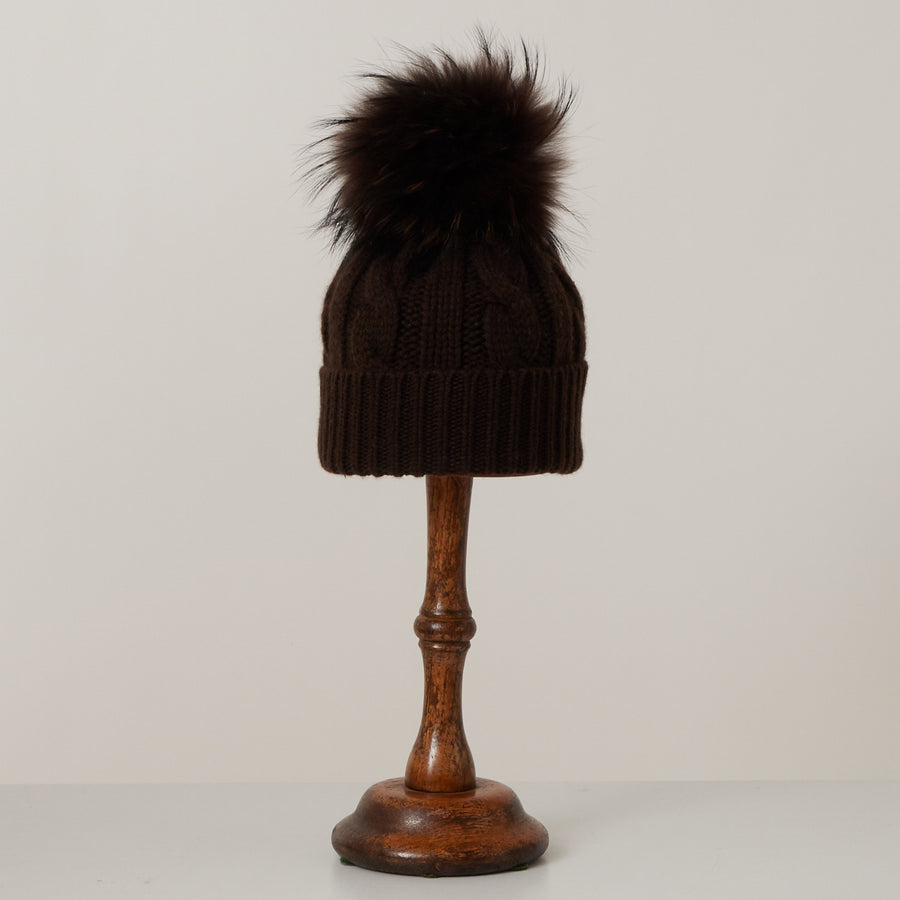 Cuffed Cashmere Hat with Pom Pom