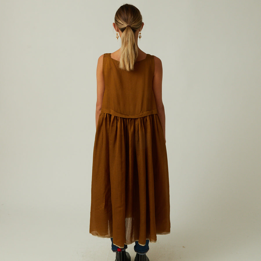 Runaway Bicycle Square Neck Silk Dress