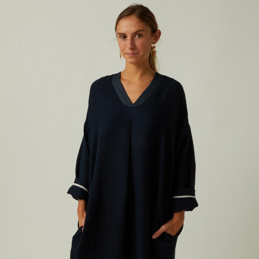Runaway Bicycle Navy Swing Dress