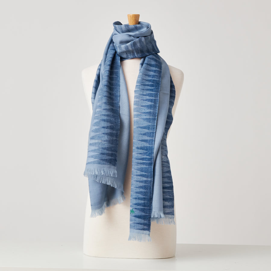 Triangle Border Scarf in Blue