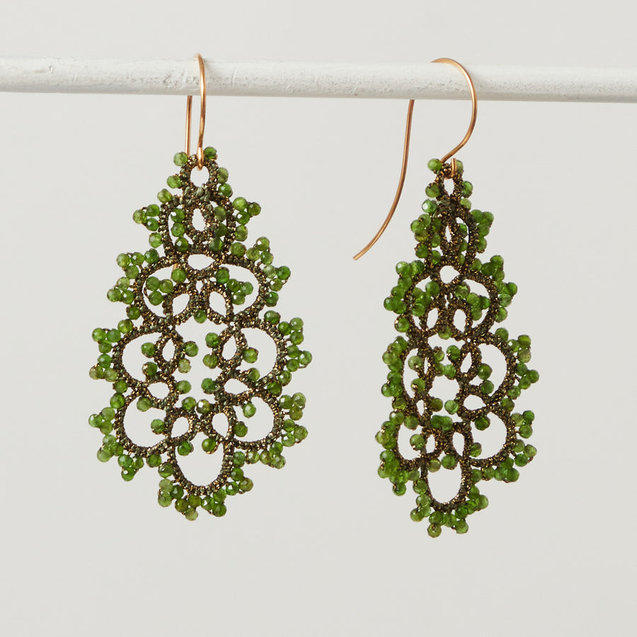 Chrome Diopside Lace Earrings
