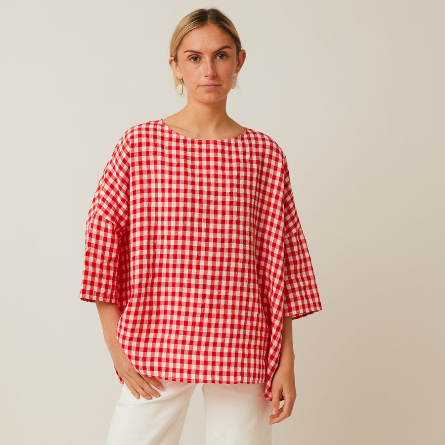 Apuntob Linen Drop Shoulder Top