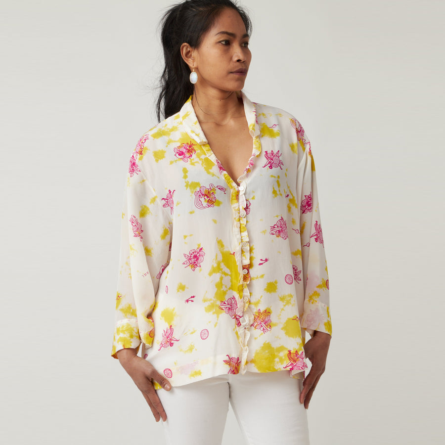 An An Londree Ruffle Blouse Hawaii