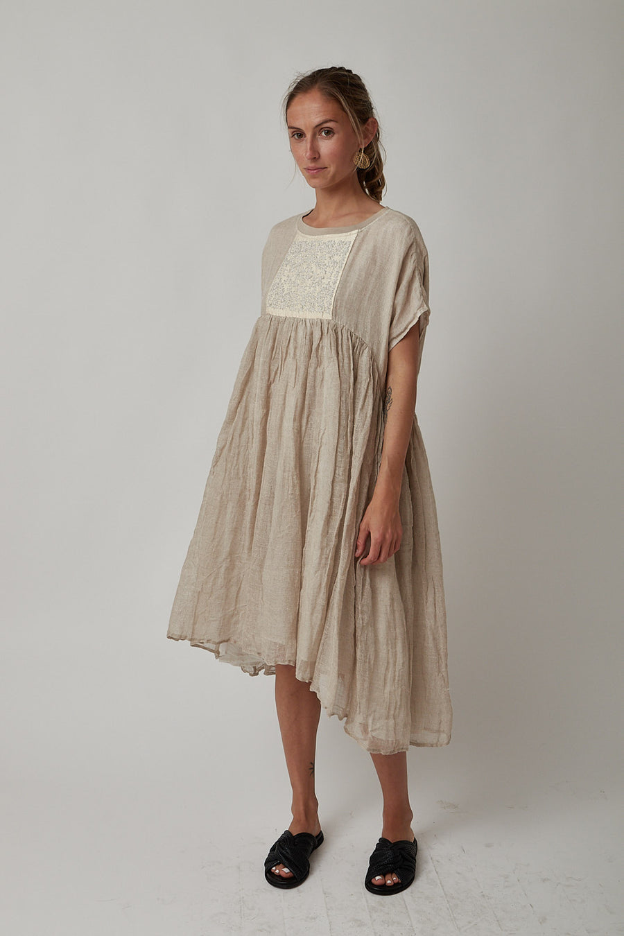 AO Dress Taupe Embroidered Dress Sale