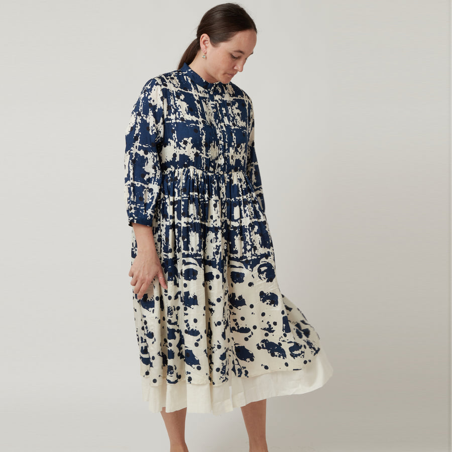 Bunon Silk Navy Dress