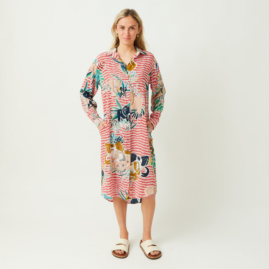 Rumisu Silk Elephant Print Shirt Dress