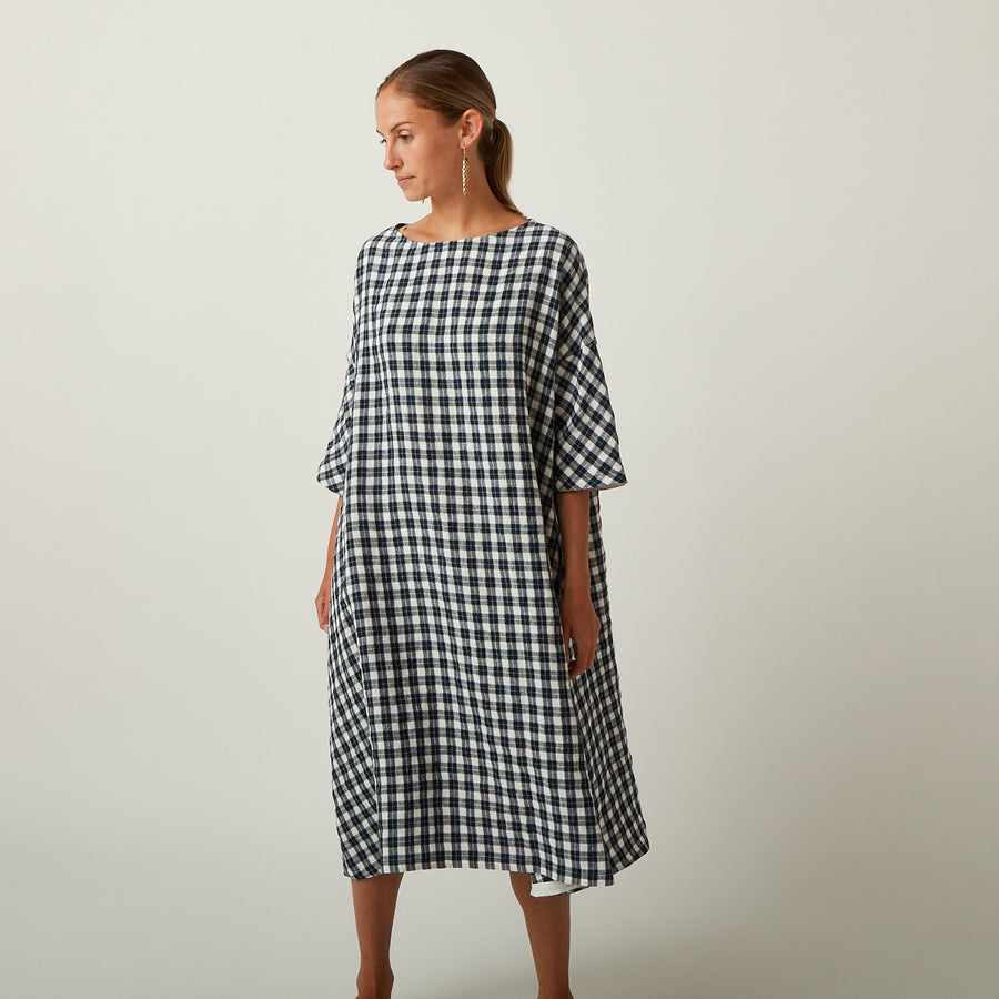 Apuntob Gingham Blue Dress