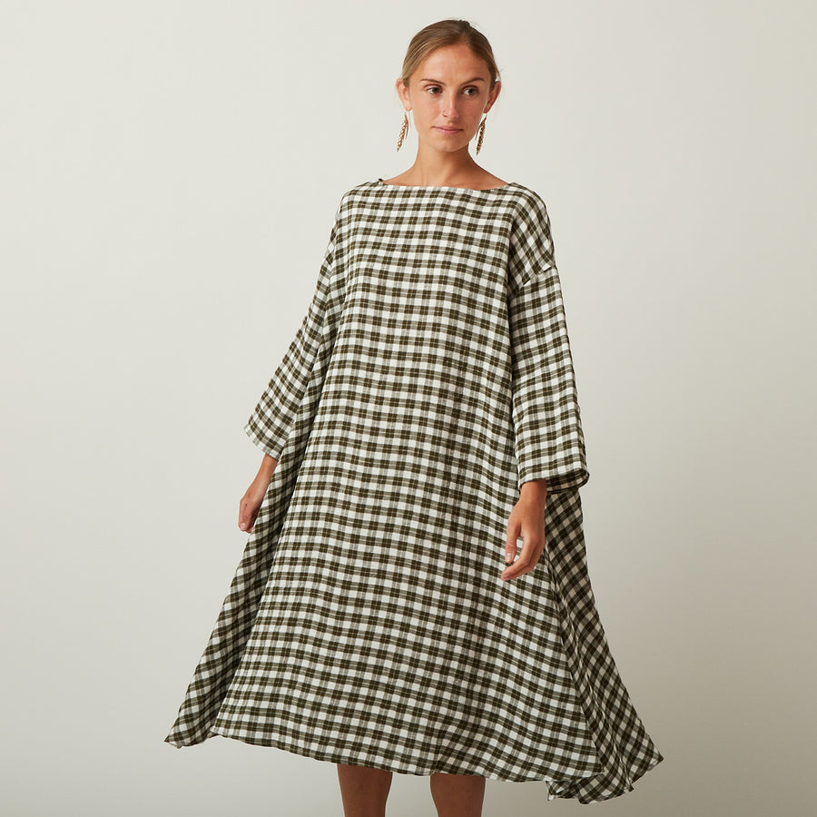 Apuntob Gingham Military Green Dress