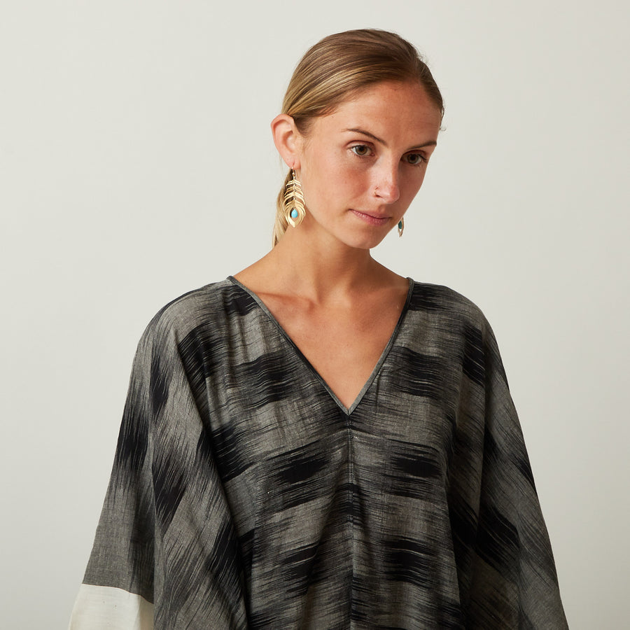 TWO Black and White Ikat Kaftan