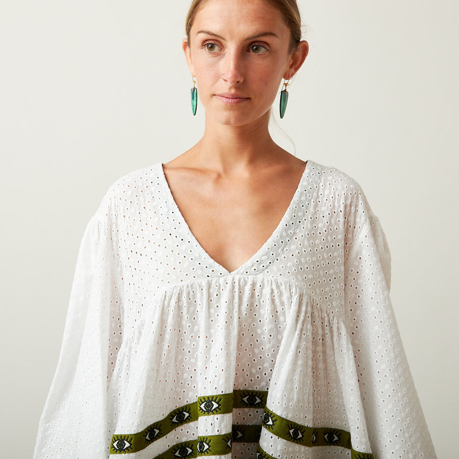 Flora Sardalos Eyelet Dress with Green Eyes