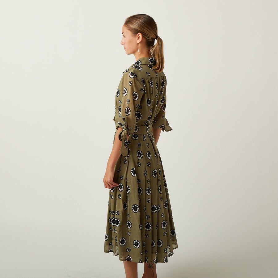 Samantha Sung Audrey Dress in Kahki Shibori