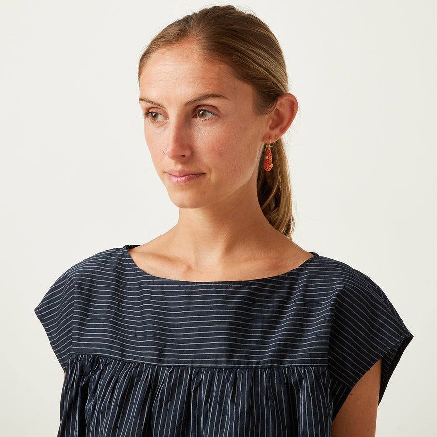 Apuntob Navy Silk Pleat Front Top